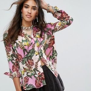 Free People Under the Palms M soft button down top